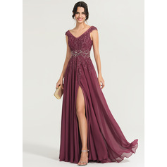 A-Line/Princess V-neck Floor-Length Chiffon Evening Dress With Beading Sequins (017167689)