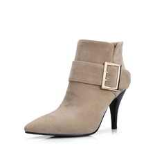 Women's Suede Stiletto Heel Ankle Boots With Buckle shoes