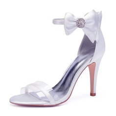 Women's Silk Like Satin Stiletto Heel Peep Toe Pumps Sandals With Bowknot Rhinestone Zipper