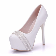 Women's Leatherette Stiletto Heel Closed Toe Platform Pumps With Pearl Rivet