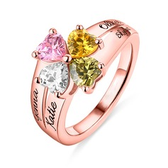 Personalized Unique S925 Sliver Heart Cubic Zirconia/Birthstone Rings For Bride/For Friends/For Couple