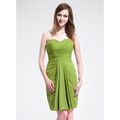 Sheath/Column Sweetheart Knee-Length Chiffon Bridesmaid Dress With Ruffle