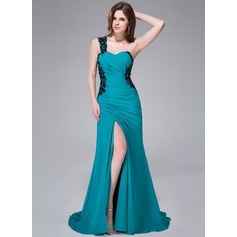 Trumpet/Mermaid One-Shoulder Sweep Train Chiffon Prom Dress With Ruffle Beading Appliques Lace Sequins Split Front