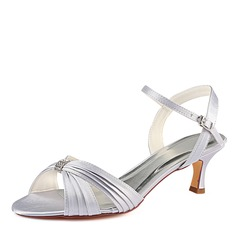 Women's Silk Like Satin Stiletto Heel Sandals With Ruffles Crystal