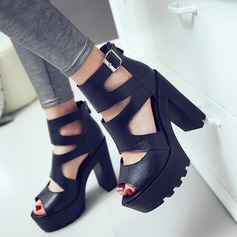 Women's Suede Chunky Heel Sandals Pumps Peep Toe Ankle Boots With Buckle Hollow-out shoes