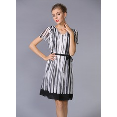 Polyester/Chiffon With Print Above Knee Dress (199086958)