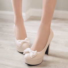 Women's Leatherette Chunky Heel Pumps Platform Closed Toe With Bowknot shoes