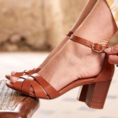 Women's PU Chunky Heel Sandals With Buckle shoes (087209470)