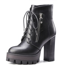 Women's Leatherette Chunky Heel Pumps Platform Closed Toe Boots Ankle Boots With Zipper Lace-up shoes