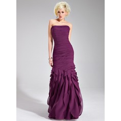 Trumpet/Mermaid Strapless Floor-Length Chiffon Evening Dress With Ruffle