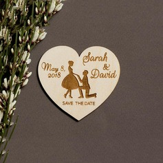 Personalized Heart-shaped Wooden Save-the-date Magnets