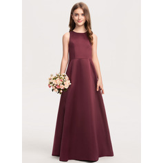 Scoop Neck Floor-Length Satin Junior Bridesmaid Dress (268236716)