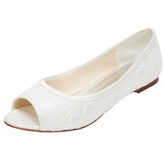 Women's Silk Like Satin Flat Heel Flats Peep Toe