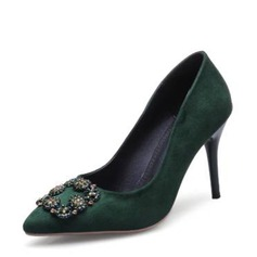 Women's Suede Stiletto Heel Closed Toe Pumps With Buckle