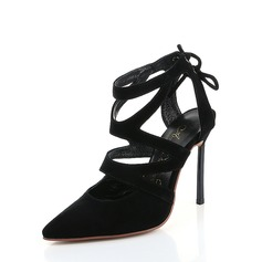 Women's Suede Stiletto Heel Sandals Pumps Slingbacks With Lace-up shoes (087130341)