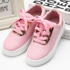 Girl's Leatherette Flat Heel Flats Sneaker & Athletic With Lace-up