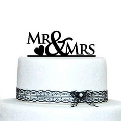 Brev Mr & Mrs Akryl Bryllup Kake Topper