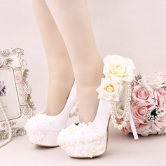 Women's Leatherette Stiletto Heel Platform Pumps With Imitation Pearl Flower Lace-up (047113706)