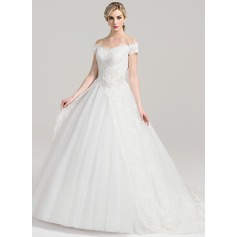 Ball-Gown Off-the-Shoulder Court Train Tulle Lace Wedding Dress With Ruffle Flower(s)