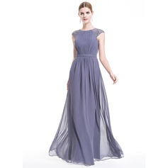 A-Line/Princess Scoop Neck Floor-Length Chiffon Evening Dress With Ruffle Sequins