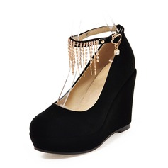 Women's Suede Wedge Heel Platform Closed Toe Wedges With Chain shoes