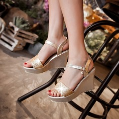 Women's Leatherette Wedge Heel Sandals Pumps Platform Wedges Peep Toe Slingbacks With Buckle shoes