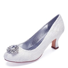 Women's Lace Chunky Heel Closed Toe With Rhinestone Stitching Lace