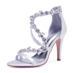 Women's Silk Like Satin Stiletto Heel Peep Toe Pumps Sandals With Rhinestone Zipper Chain (273204760)