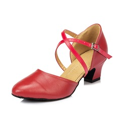 Women's Real Leather Heels Sandals Ballroom Swing Dance Shoes