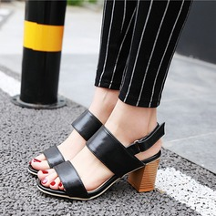 Women's Leatherette Chunky Heel Sandals Peep Toe shoes (087117314)