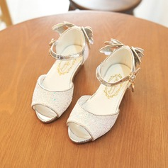 Girl's Peep Toe Leatherette Low Heel Sandals Flower Girl Shoes With Applique