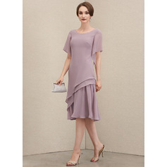 Scoop Neck Knee-Length Chiffon Mother of the Bride Dress With Cascading Ruffles (267225363)