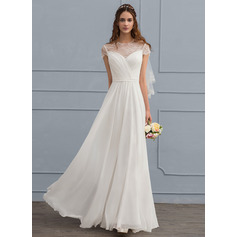 Floor-Length Chiffon Wedding Dress (265213119)