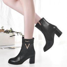 Women's Leatherette Chunky Heel Boots With Zipper Others shoes
