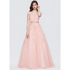 Ball-Gown V-neck Sweep Train Tulle Evening Dress With Beading Sequins