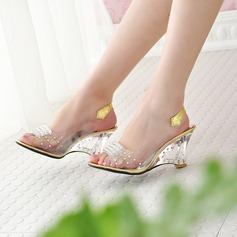 Women's PVC Wedge Heel Sandals Wedges Peep Toe Slingbacks With Rhinestone Jewelry Heel shoes (087127451)