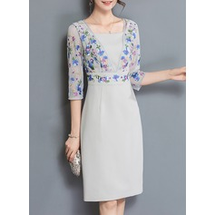Polyester With Stitching Knee Length Dress (199134298)
