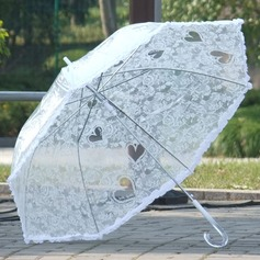 Elegant Bride And Groom/Heart Shaped Plastic/Stainless Steel/Lace Wedding Umbrellas (051251072)