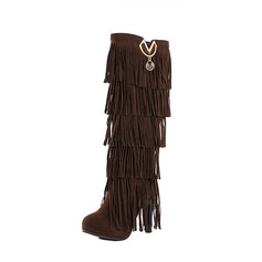 Women's Suede Stiletto Heel Pumps Boots Knee High Boots With Tassel shoes