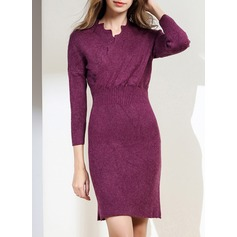Knitting With Stitching/Crumple Knee Length Dress (199137135)