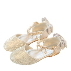 Girl's Round Toe Leatherette Low Heel Flower Girl Shoes With Applique