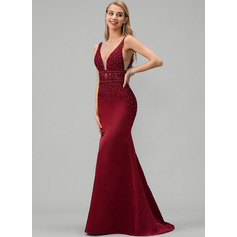 Trumpet/Mermaid V-neck Sweep Train Satin Prom Dresses With Lace Beading (272236180)