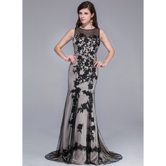Trumpet/Mermaid Scoop Neck Sweep Train Charmeuse Tulle Evening Dress With Appliques Lace