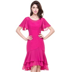 Trumpet/Mermaid Scoop Neck Asymmetrical Chiffon Cocktail Dress With Cascading Ruffles