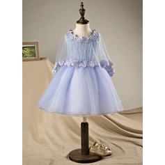 Ball Gown Knee-length Flower Girl Dress - Polyester/Cotton Sleeveless Scoop Neck With Beading/Bow(s) (Wrap included)