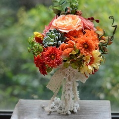 Colorful Round Emulational Succulent Plant Bridal Bouquets