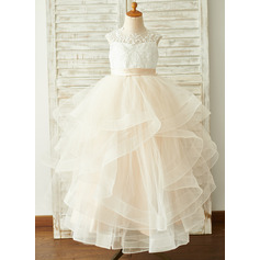 Ball-Gown/Princess Floor-length Flower Girl Dress - Tulle/Lace Sleeveless Scoop Neck