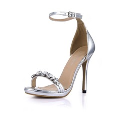 Leatherette Stiletto Heel Sandals Peep Toe With Rhinestone Buckle shoes