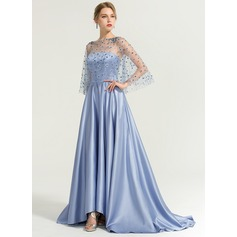 A-Line/Princess Strapless Sweep Train Satin Evening Dress With Flower(s) Sequins