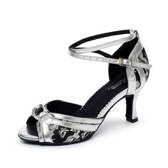 Women's Lace Heels Sandals Latin With Animal Print Dance Shoes